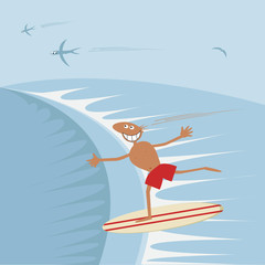 Surfer with surfboard.