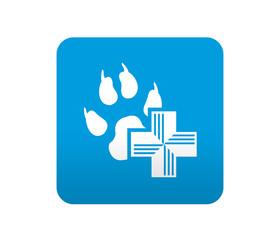 Etiqueta tipo app azul simbolo clinica veterinaria