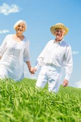 Senioren gehen gemeinsam den weg