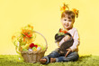 Easter little girl, kid holding bunny rabbit basket eggs