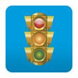 Etiqueta tipo app cuadrada azul semaforo