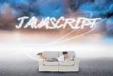 Javascript against cloudy landscape background