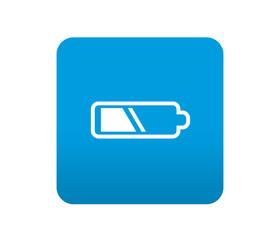 Etiqueta tipo app azul simbolo pila electrica