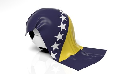 Classic soccer ball with flag of Bosnia and Herzegovina