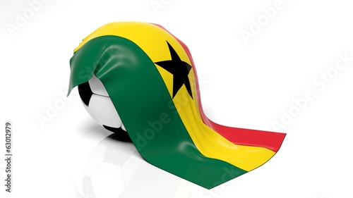 Classic soccer ball with flag of Ghana on it.