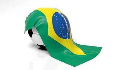 Classic soccer ball with flag of Brazil on it.