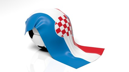 Classic soccer ball with flag of Croatia on it.