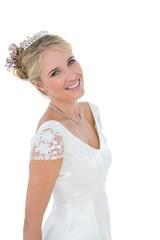 Bride smiling over white background