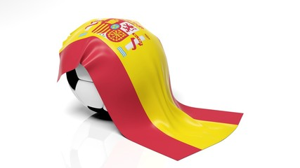 Classic soccer ball with flag of Spain on it.
