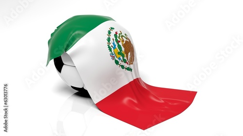 Classic soccer ball with flag of Mexico on it.