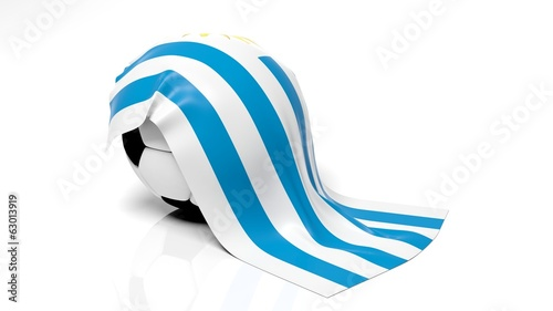 Classic soccer ball with flag of Uruguay on it.