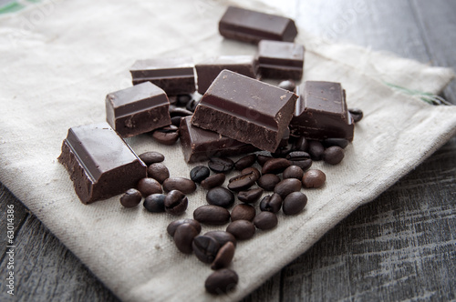 close up of chocolate and coffee beans,