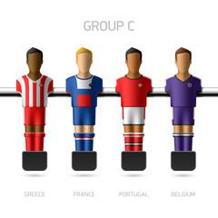 Table football, foosball players. Group C.