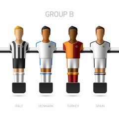 Table football, foosball players. Group B.