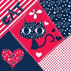 cute cat and patchwork background vector illustration