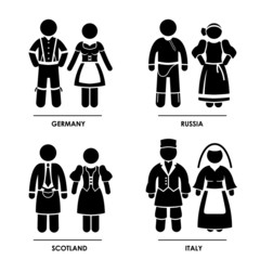 Europe National Traditional Costume Dress Clothing