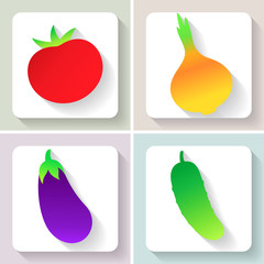 Set of flat design vegetable icons. Vector illustration.