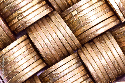 Columns of gold coins