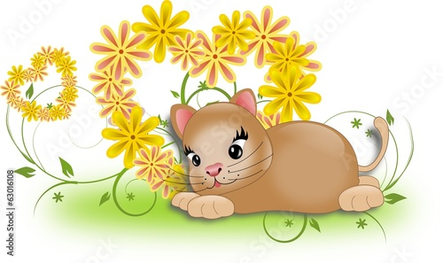 Small kitten with flower hearts