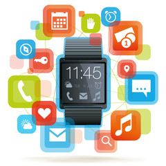 Smartwatch mit bunten Apps