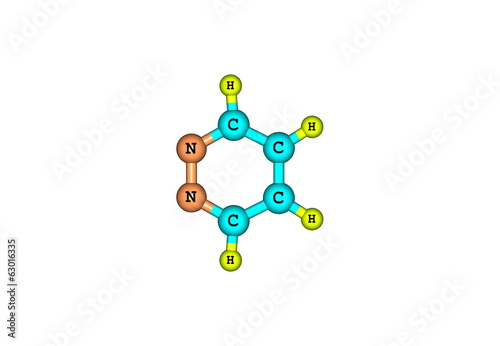 Pyridazine molecular structure isolated on white