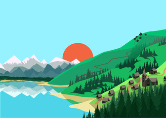 Mountain landscape in flat colors