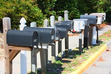 Row of American Mailboxes