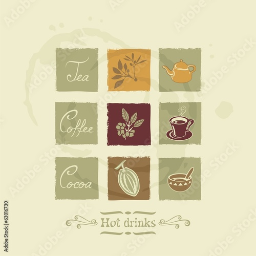 Beverages elements with tea, coffee and cocoa