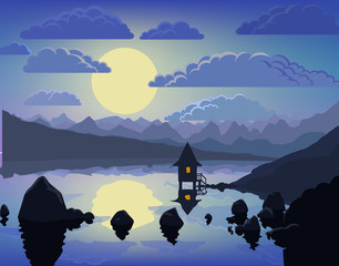 Night mountain lake vector landscape