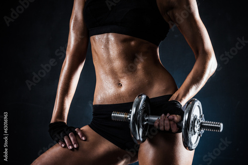 Fitness with dumbbells - 63016963