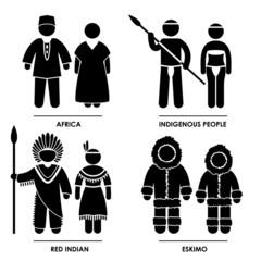 Africa Indigenous Red Indian Eskimo Dress Clothing