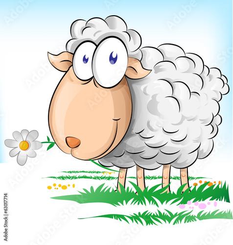 Fototapety, obrazy : sheep cartoon on  background