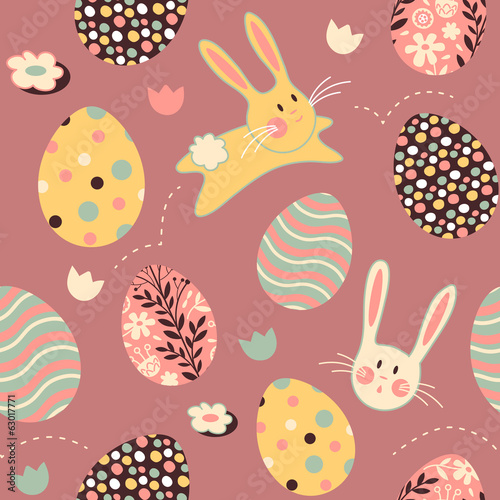 Easter Bunny Egg Pink Repeat Pattern