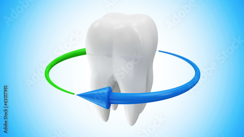 Tooth Rotation with Arrows. HQ Looping Video Clip with Alpha