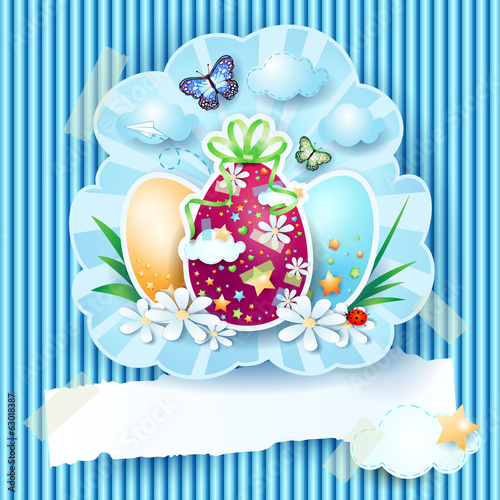Easter eggs and banner on cardboard background