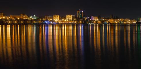Cityscape of Galati ( Romania ) at night-time