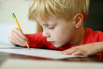 Young Boy Drawing with Pencil