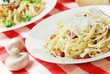 Pasta carbonara on the wooden table