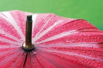 closeup of umbrella with rain drops