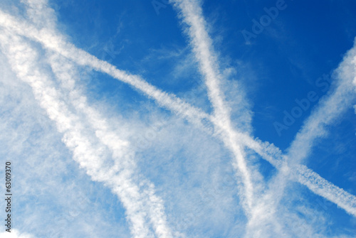 Blue sky with white traces