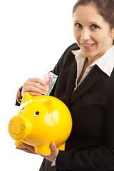 Geldsparende Frau