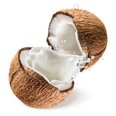 Coconut and a half with milk splash on white background