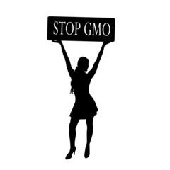stop gmo with girl vector