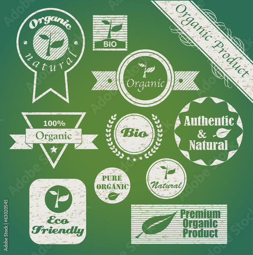 Set of organic badges and labels.