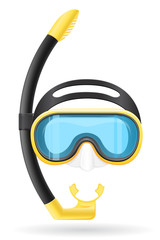 mask and tube for diving vector illustration