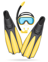 mask tube and flippers for diving vector illustration