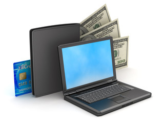 Laptop, wallet, credit card and dollar bills on white background