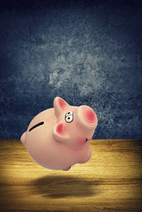piggy bank knocked over