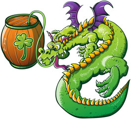 Saint Patrick's Day Dragon Drinking Beer