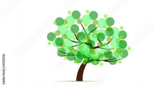 Abstract isolated tree from green circles Vector